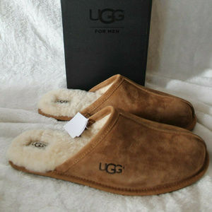 UGG MEN SCUFF SUEDE SHEARLING SLIPPERS CHESTNUT